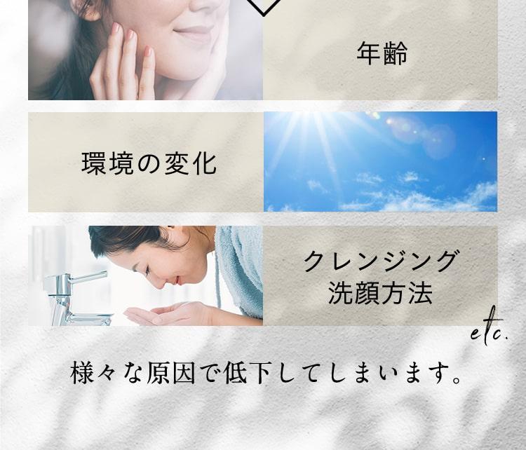 年齢/環境の変化/クレンジング洗顔方法 etc 様々な原因で低下してしまいます。